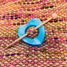 "Mother of Pearl Heart Shawl Pin ""Ciel"""