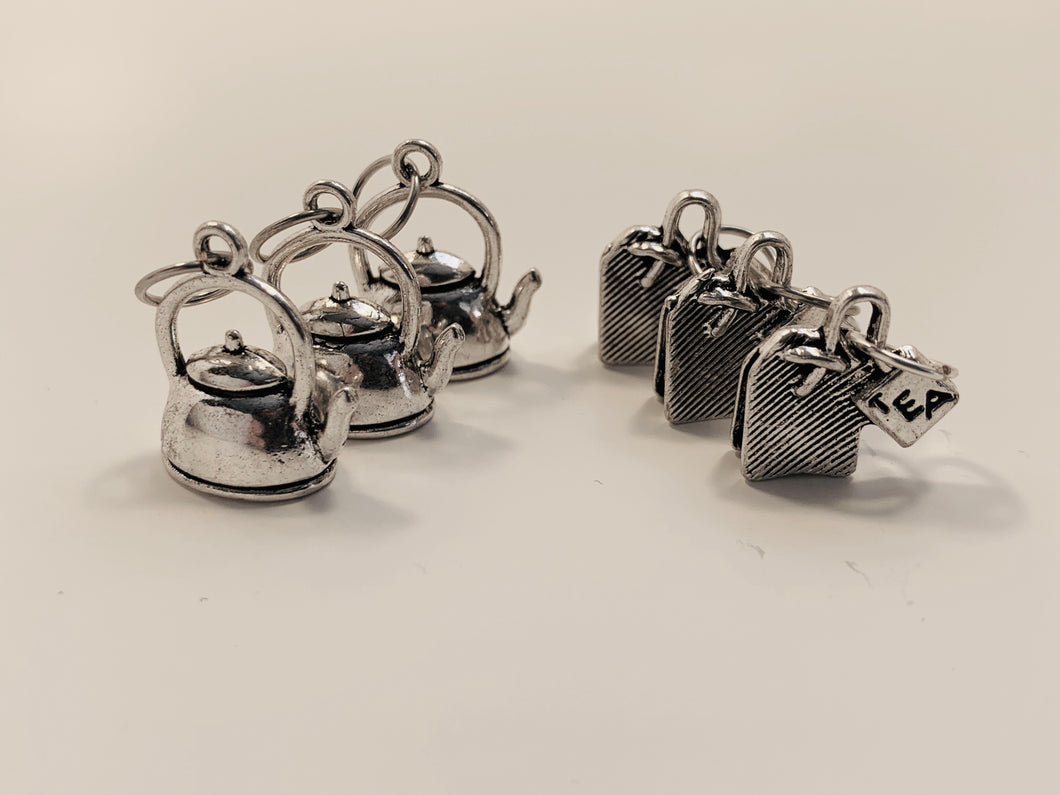 Handmade Silver Metal Stitch Markers ~ Tea Time ~ Set of 6