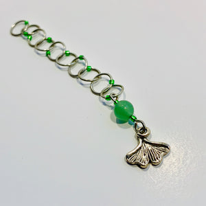 Snagless Beaded Chain Row Counter ~ Ginkgo Leaf