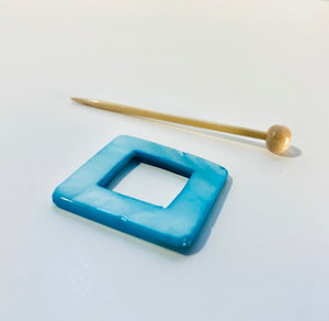 "Mother of Pearl Square Shawl Pin ""Blue Dahlia"""