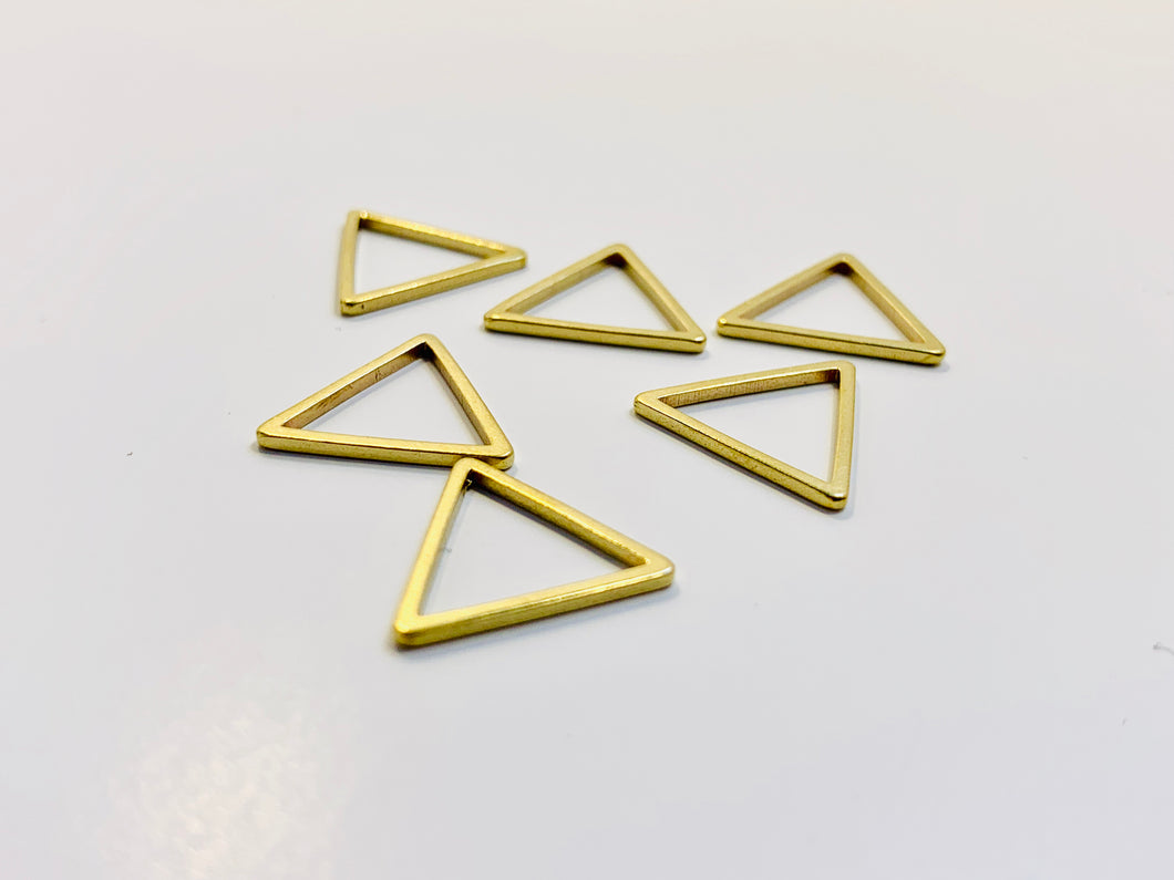 Gold Metal Stitch Markers ~ Triangles ~ Set of 6