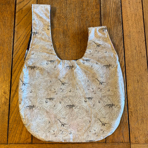 Medium Reversible Dumpling Bag: Space Dinos