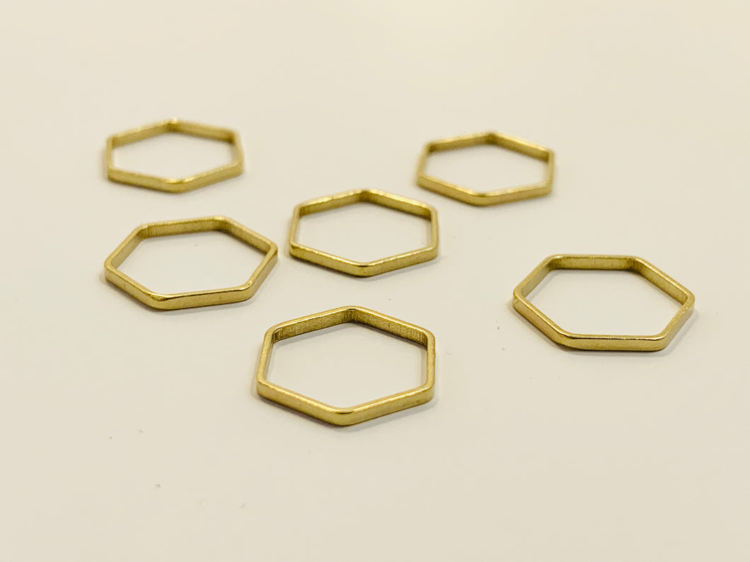 Gold Metal Stitch Markers ~ Hexagons ~ Set of 6