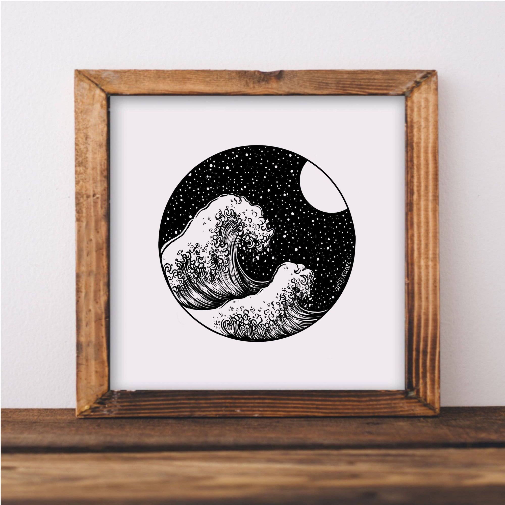 Waves and Night Sky Art Print