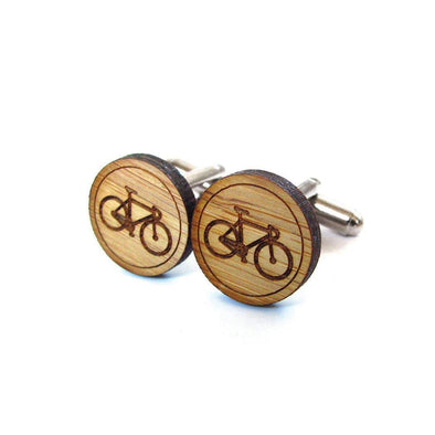Bike Bamboo Cufflinks