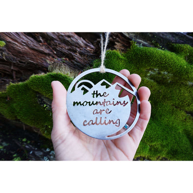 Mountains Are Calling Ornament | Recycled Steel