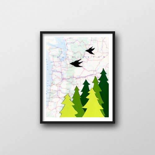 "Washington Trees Art Print - 11"" x 14"""
