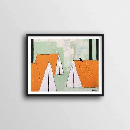 "Orange Tents Art Print - 11"" x 14"""