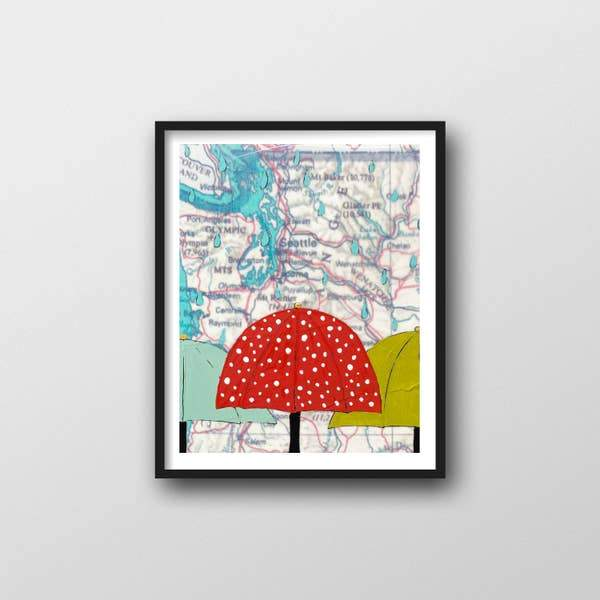 "Washington Rain Art Print - 11"" x 14"""