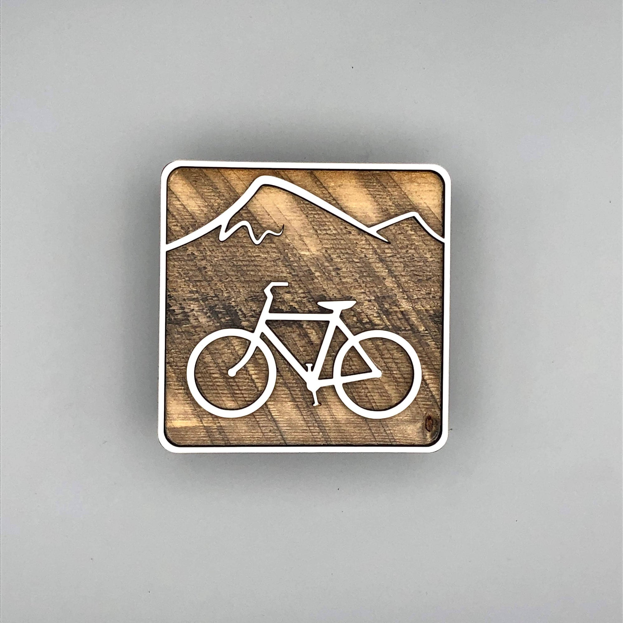 Biking with Mountain Shelf Decor | Reclaimed Wood