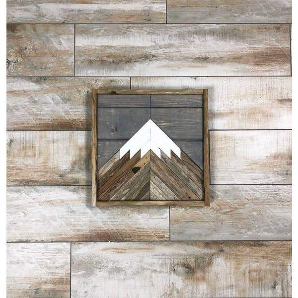 Mountain Gray Sky Wood Wall Art