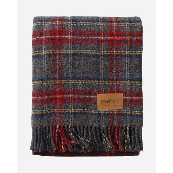Tartan Charcoal Plaid Throw with Leather Carrier | Pendleton