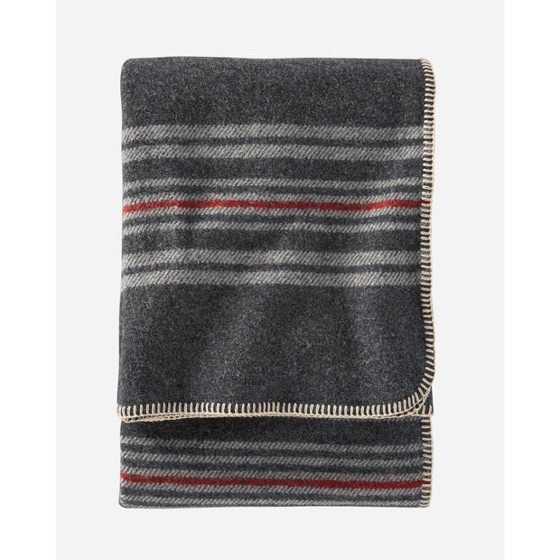 Pendleton Eco-Wise Wool Stripe Throw: Charcoal Irving