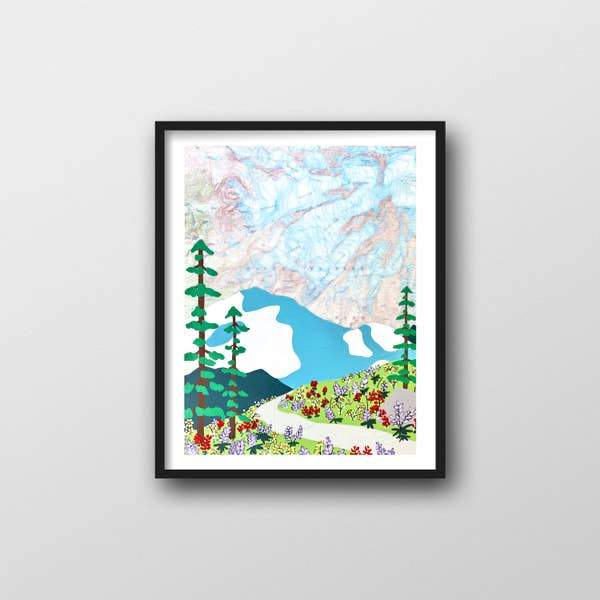"Mount Rainier Wildflower Art Print - 11"" x 14"""