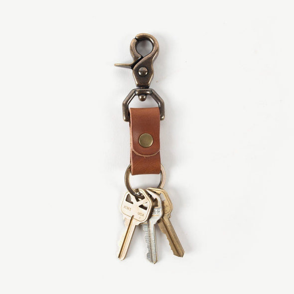 Leather and Brass Keychain