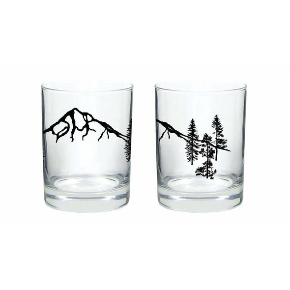 Mountain Forest Rocks Glass: Set of 2