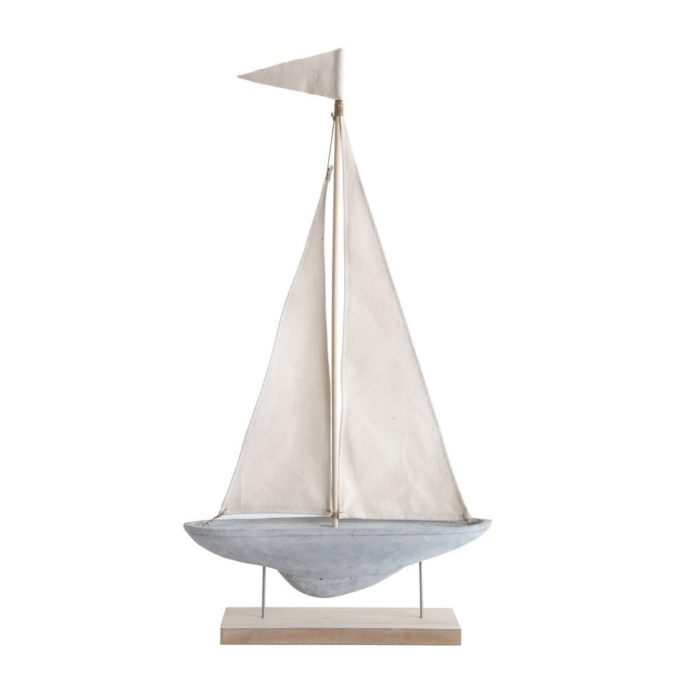 Cement & Canvas Sailboat on Stand