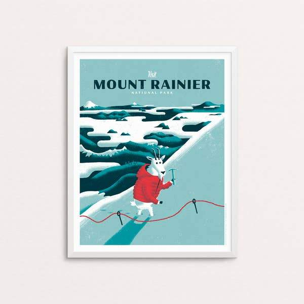 "Mount Rainier National Park Screen Print - 16"" x 20"""