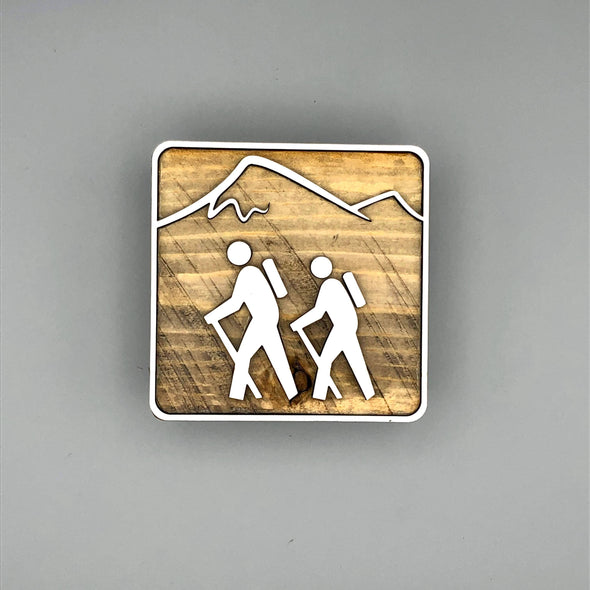 Hiking with Mountain Shelf Decor | Reclaimed Wood