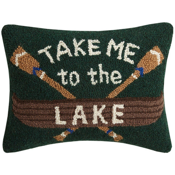 Take Me to the Lake Wool Hook Pillow