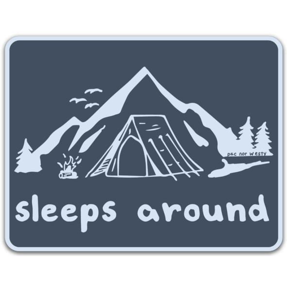 Sleeps Around Sticker