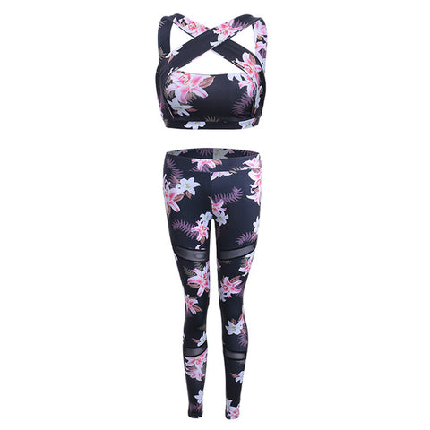 Floral Printed Women's Yoga Bra + Sport Legging Tights