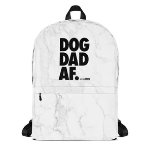 Dog Dad AF White Marble: Backpack