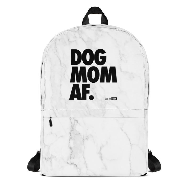 Dog Mom AF White Marble: Backpack