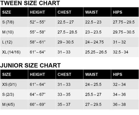 Size Chart Shop Gypsy Girl