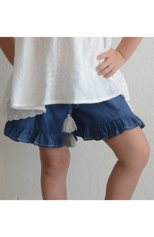 "Paper Wings ""Frilled Chambray Shorts"""