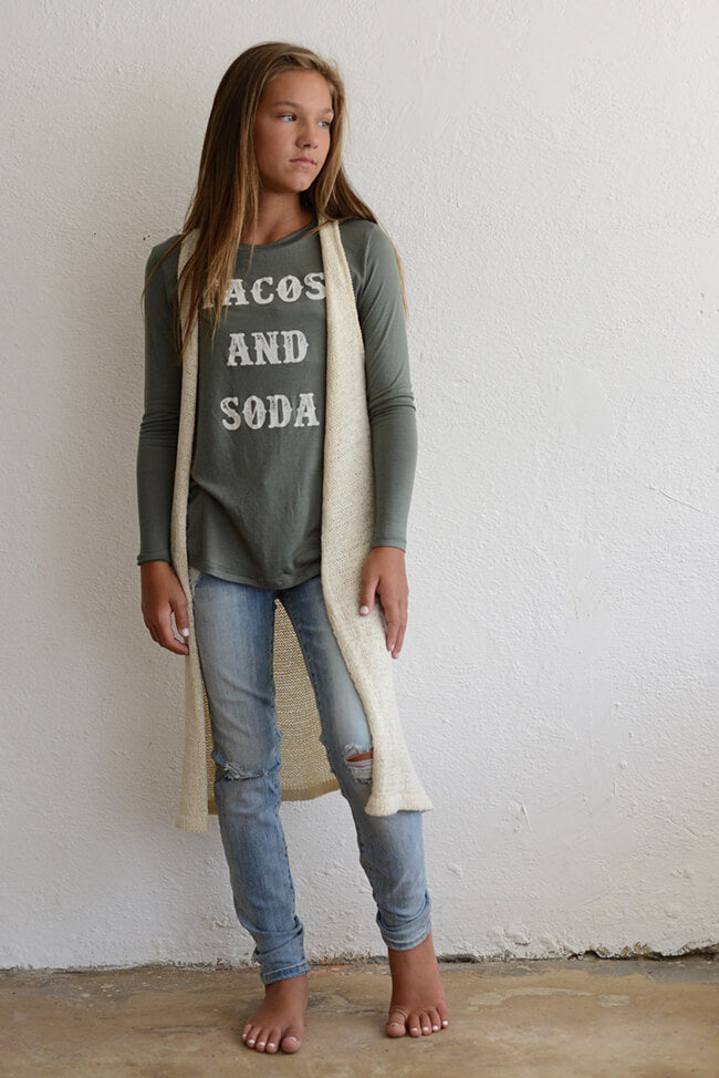 "PPLA ""Girls Taco and Soda Knit Top"" Olive"