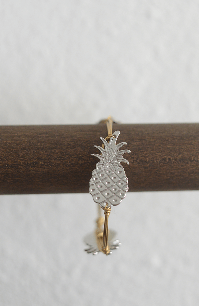 """Pineapple"" Bangle Silver w/ Gold Band"