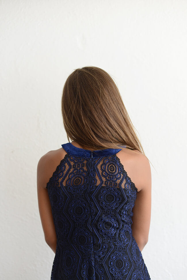"Elisa B ""Lace Dress"" Navy"