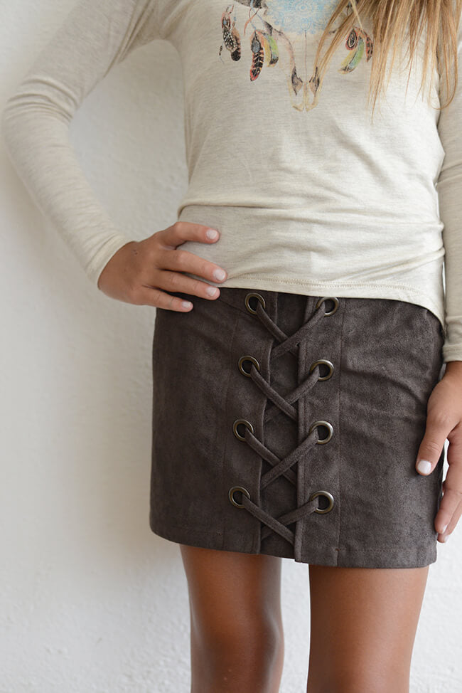 "Elisa B  ""Suede Skirt w/ Side Lace"" Grey"