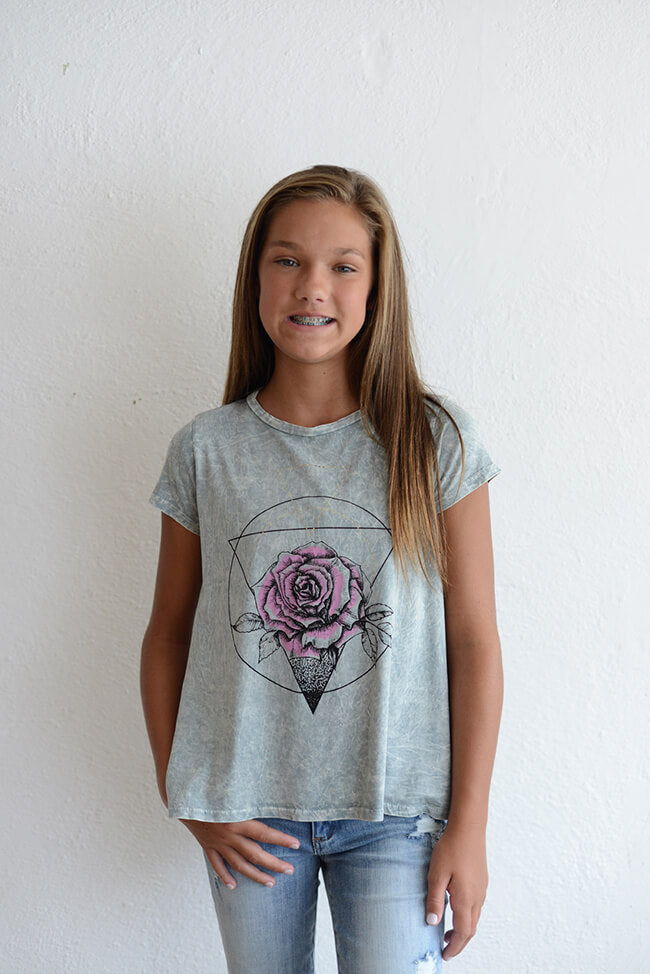 "PPLA ""Sacred Rose Knit Tee Grey"""