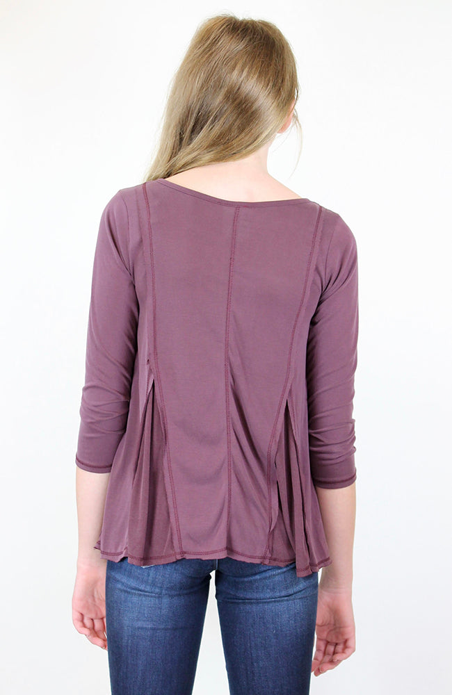 """Burgundy V-Shape Round Neck"" Top by Kiddo"