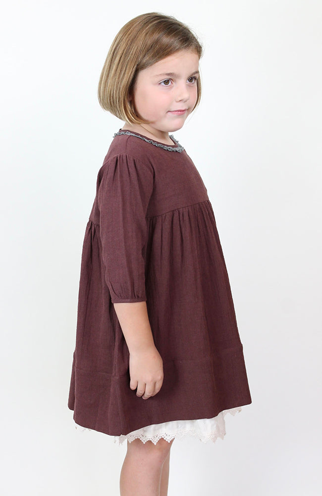 """Emmy"" Dress Burgundy by Blu Pony Vintage"