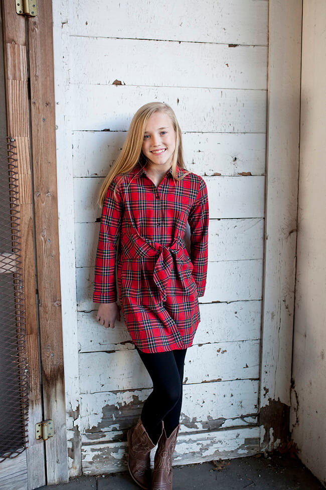 Girls Plaid Dress Red