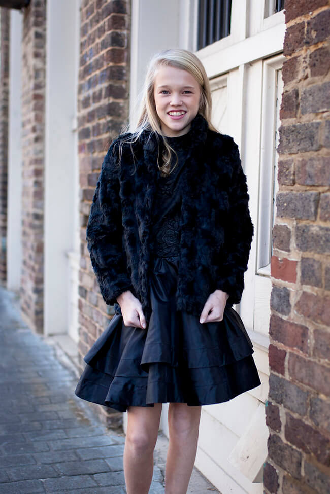 Girls Farley Fur Coat Black