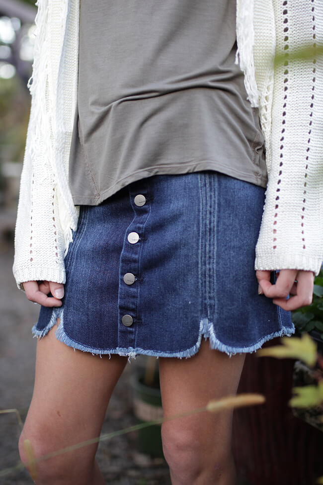 Girls Denim Button Down Skirt