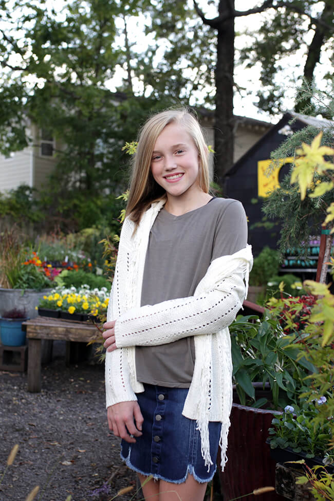 Girls Knit Cardigan Ivory