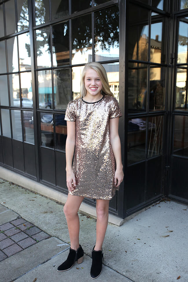 """Sequin Dress"" Rose Gold"