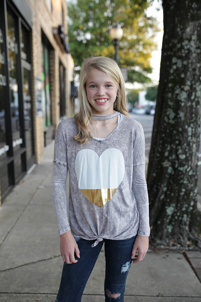 """Girls Heart Top w/ Choker Neck & Front Tie"" Grey"