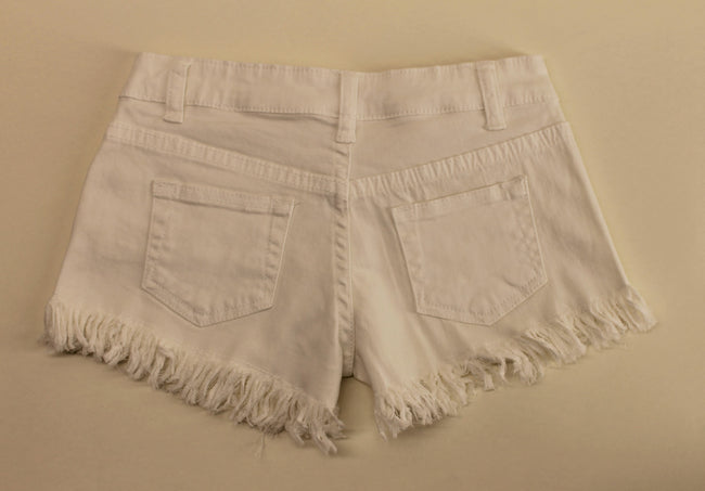 White Denim Frayed Shorts by Vintage Havana
