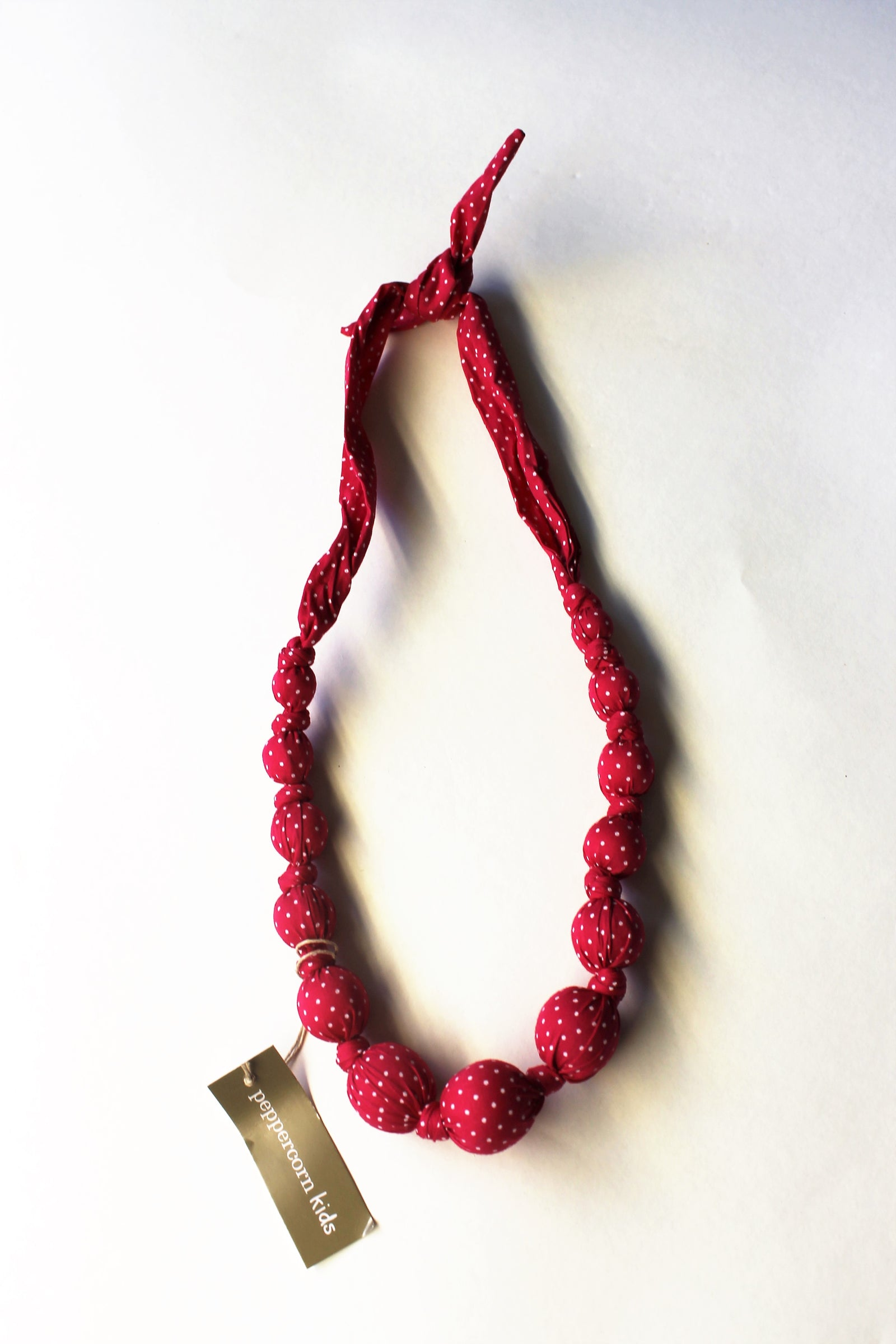 Sprinkles Raspberry Beaded Cloth Necklace Sprinkle Dots by Peppercorn Kids
