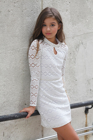 Girls Sequin Josie Dress Beige