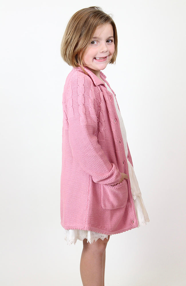 """Mae"" Cardigan Rose Pink by Blu Pony Vintage"