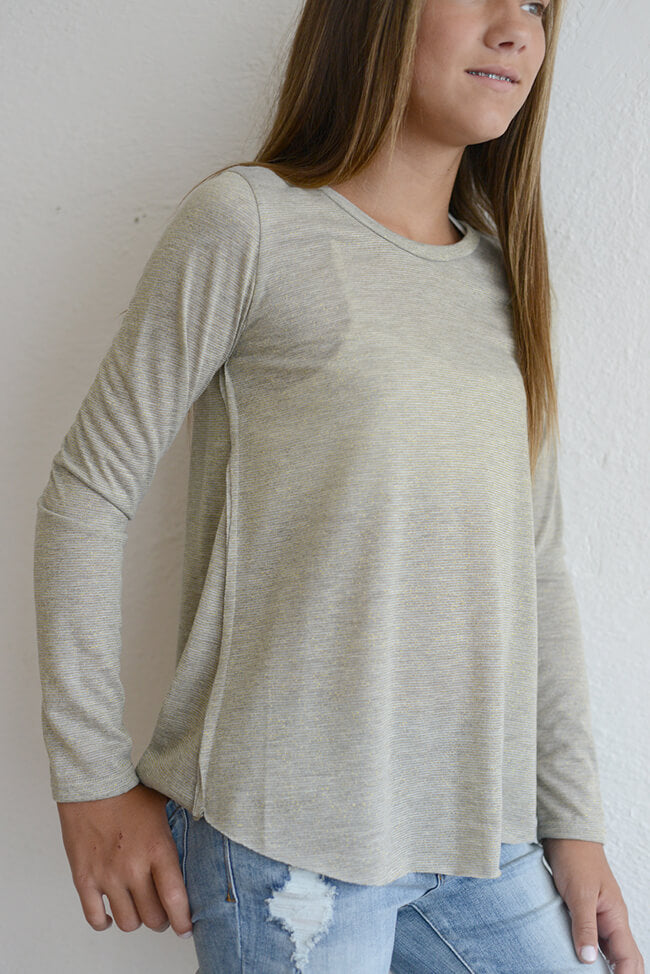 "PPLA ""Calia Metallic Knit Top"" Heather Grey/Ivory"
