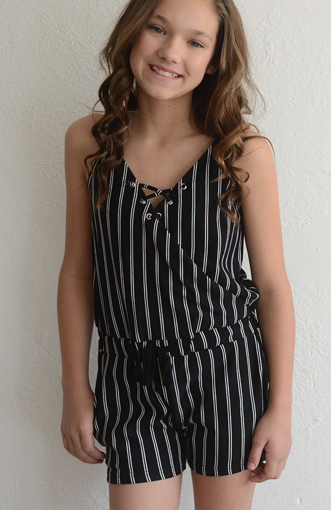 "For All Seasons, by Paper Crane ""Vertical Striped Romper"""