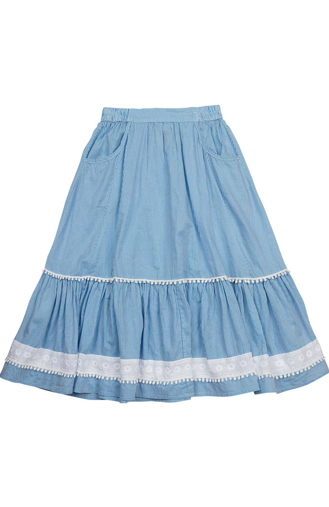 "Paper Wings ""Frilled Maxi Skirt w/ Lace Trims"""
